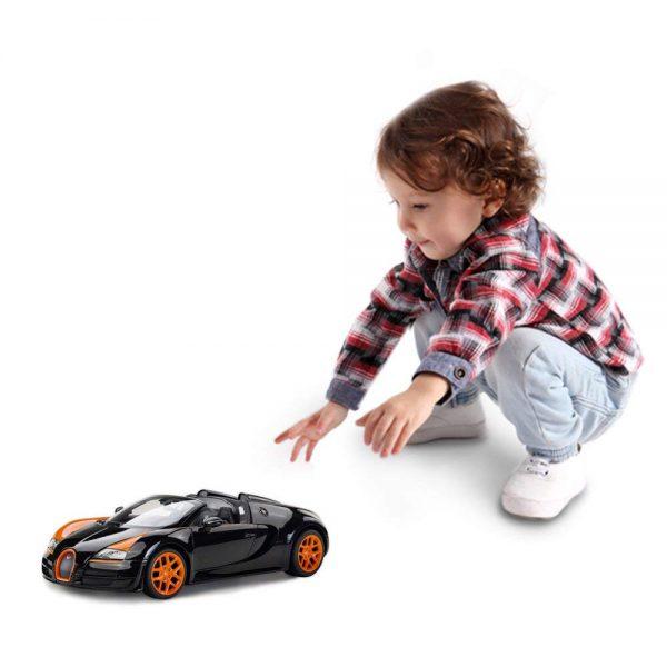 RASTAR Bugatti Toy Car, 1/14 Bugatti Remote Control Car, Bugatti Veyron 16.4 Grand Sport Vitesse RC Car - Black/Orange, 27MHz/40MHz