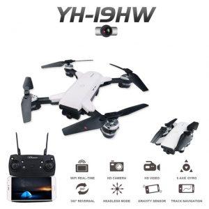 YH - 19HW 2.4GHz Foldable RC Selfie Drone - RTF - WHITE 0.3MP CAMERA