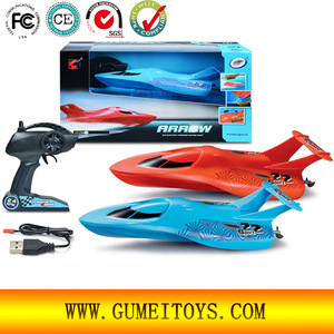 Arrow Sea Wing Speed RC Boat 2.4GHz 4-Channel Electric Powered Racing Boat Remote Control Toys For Kids, R/C Use On Lake, Pool (Color Various: Blue, Red)